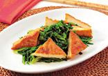 厚揚げと菊菜の炒め物