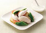 ささみと春野菜のフライパン蒸しヨーグルトソース