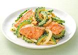 鮭とゴーヤーのピリ辛味噌炒め