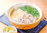 豚肉と水菜の昆布茶鍋