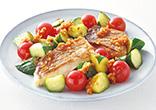 鯛と夏野菜のソテー 香味ソース