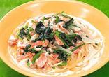 鮭とほうれん草のクリームスープスパゲッティ